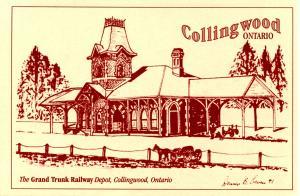 Canada - ON, Collingwood. Grand Trunk Rwy Station. Artist: Dennis B Owen