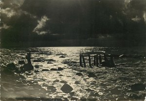 Post card rough stormy sea nocturnal aspect