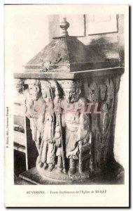 Old Postcard Auvergne Baptismal font Church of I Menat