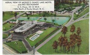 Vtg 1965 Aerial View of Mosley's Shady Lake Motel and Rio Restaurant, NC