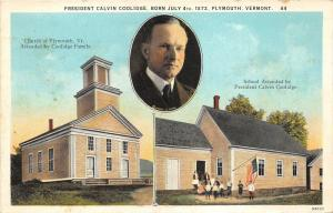 Plymouth Vermont~Church-School Attended by President Calvin Coolidge~1920s Pc