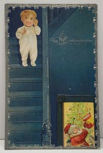 The Night Before Christmas Child on Stairs Santa at Tree Emb c1910 Postcard G18