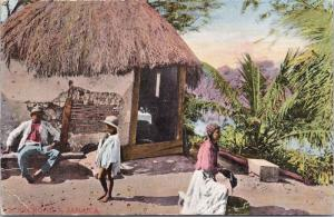 Jamaica 'A Negro Hut' Man Woman Child Unused Postcard E33