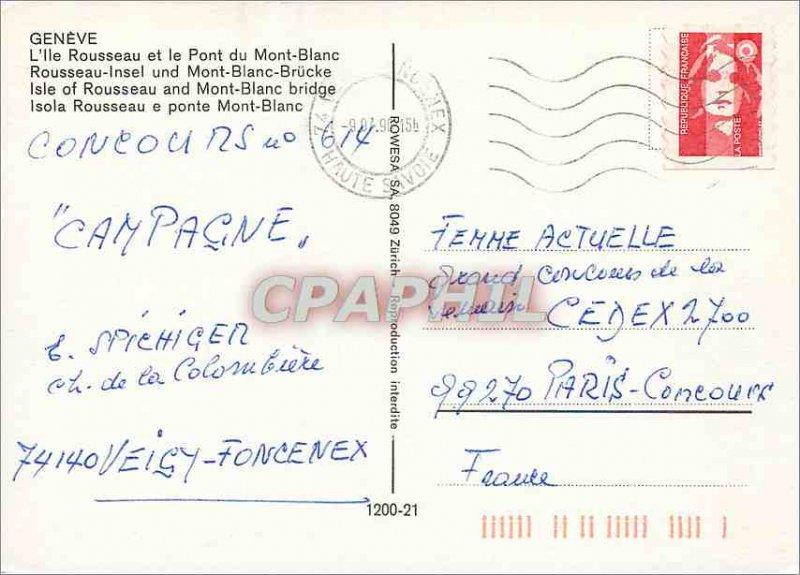Modern Postcard Geneva The Rousseau island and the Pont du Mont Blanc