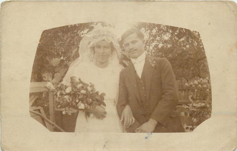 Wedding social history photo postcard groom & bride