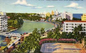 Florida Miami Beach Lake Pancoast Hotel Area 1945 Curteich