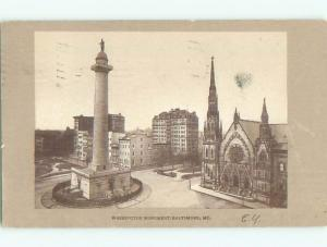 Pre-1907 very early view - WASHINGTON MONUMENT Baltimore Maryland MD n6701