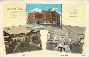 Crystal Falls Michigan~Crystal Inn~Lobby~Dining Room~1930s Postcard