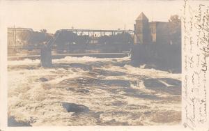 Waterville ME Kennebec River Railroad Bridge~Warren Thru Truss~Bldg RPPC c1906