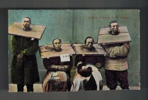 Mint  China picture color  Postcard Chinese Prisoners in Stocks Canque