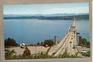 .. Postcard WA Seattle Lake Washington Floating Bridge c1950s Cars 2648N