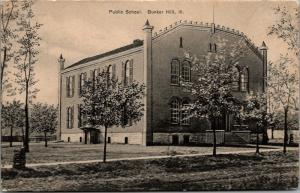 Bunker Hill Illinois~Imposing Public School w/Corner Pencil Towers~1910 Postcard