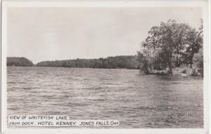 1940s JONES FALLS Ontario Canada RPPC Postcard Whitefish Lake Hotel Kenney