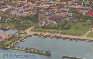 Florida Fort Pierce Aerial View Showing Yacht Basin and Indian River 1951 Cur...