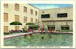 1950s WINNEMUCCA, Nevada Postcard SONOMA INN Girls at the Pool! Linen c1940s