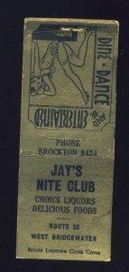 West Bridgewater, Massachusetts/Mass/MA Matchcover, Jay's Nite Club, Girlie