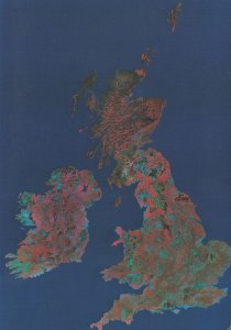 British Isles from Outer Space Spectral Scanner Mosaic Postcard