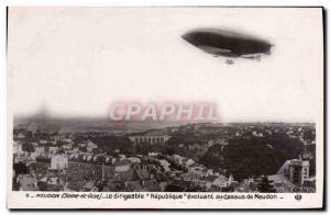 Old Postcard Airship Zeppelin Airship Meudon The Republic Evolving above Meudon