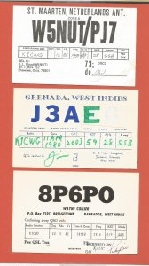 QSL AMATEUR RADIO CARDS – CARIBBEAN NATIONS – 3 DIFFERENT – 1980-1982 (1)