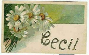 pc6232 postcard Name Cecil writing on back. NOt postally used.