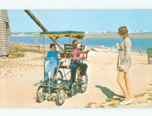 Pre-1980 TWO-PERSON SURREY SELENE BICYCLE AD ON BEACH Dennisport MA d6995