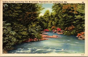 HAGERSTOWN CUMBERLAND MD - MARYLAND - LICKING CREEK - US 40 - POSTCARD