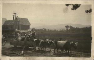 Adirondacks? Indian River Grange Parade Float Cows c1910 Real Photo Postcard