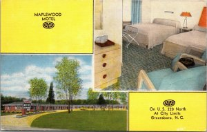 1954 Maplewood Motel Route 220 Interior Greensboro NC Guilford Co Postcard AAA