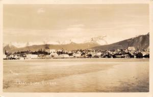 Peterburg Alaska~Shoreline Panorama~Business on Wharf~Skyline~Homes~1938 RPPC