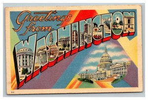 Vintage 1940's Postcard Greetings From Washington DC - US Capitol Building