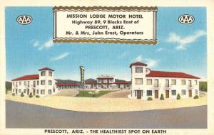 Prescott Arizona Mission Lodge Street View Antique Postcard K33887
