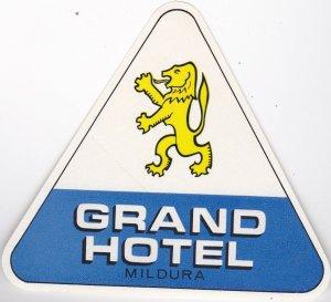 Australia Victoria Milduri Grand Hotel Vintage Luggage Label lbl0392