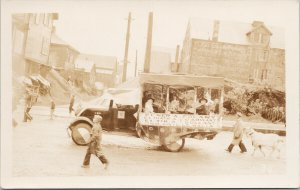 Parade Float Goat Welsh Wales ?? Unknown Location Unused RPPC Postcard E80