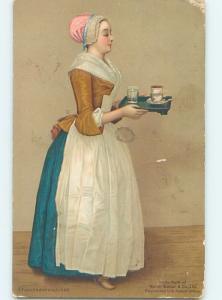 Pre-Linen GERMAN GIRL SERVING CHOCOLATE DRINKS ON PLATTER HL4498