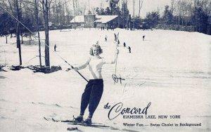 Winter Fun, Skiing at the Concord Hotel, Kiamesha Lake, N.Y., Postcard, Unused