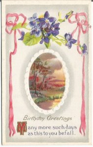 Birthday Greetings Violet posy and pink ribbon Miniature Picture in center