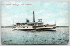 Lake Champlain New York~Steamer Chateaugay~Paddlewheeler~Lifeboats~1907 Postcard
