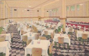 Florida Jacksonville Jenk's Restaurant Dining Room Interior 1938 Curteeich sk367