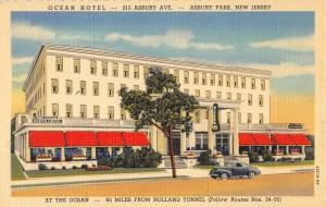 Asbury Park New Jersey Ocean Hotel Street View Antique Postcard K102052