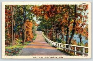 Greetings Braham Minnesota~Autumn Drive Thru Trees~Imogene Eutin~1945 Linen