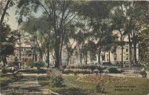 Syracuse New York~Fayette Park~Folks on Benches~Downtown Surrounds~Handcolor~'16