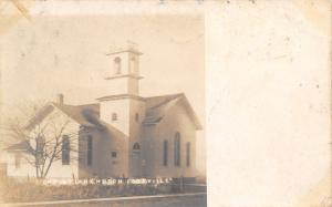 Footville Wisconsin~Christian Church~Calla Lacey: Where's Charity?~1907 RPPC