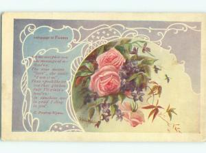 Pre-Linen signed LANGUAGE OF FLOWERS - PRESTON WYNNE QUOTE - ROSE FLOWERS W7037