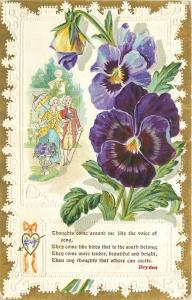 Purple Pansies~Dryden Poem~English Couple Strolls~Parasol~Lace Back~Gold~Emboss