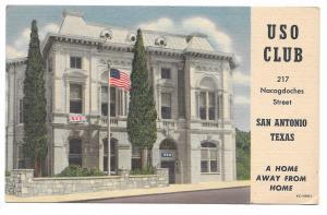 TX San Antonio USO Club 1957 Military Army Navy Air Force Soldiers Postcard