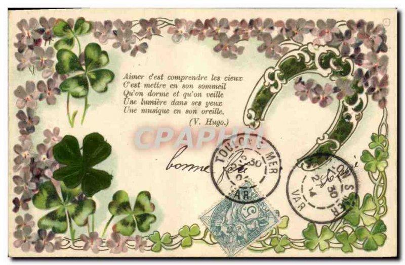 Old Postcard Fantasy Flowers Horseshoe Trefles