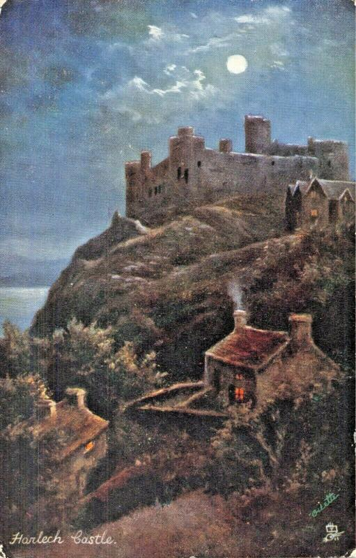 HARLECH CASTLE GWYNEDD WALES-BY MOONLIGHT-TUCK PICTURESQUE NORTH WALES POSTCARD