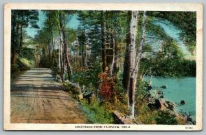 Fairview Oklahoma~Gravel Road Along Sand Creek~1916 Postcard