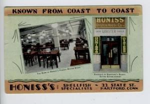 Hartford CT Honiss Lobster House Curt Teich Linen Postcard