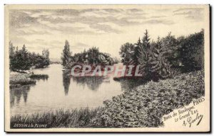 Old Postcard Drawing Pen has Bois de Boulogne Paris Le Grand Lac